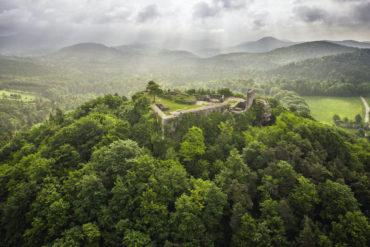 Burgruine von Bad Bergzabern aus der Vogelperspektive