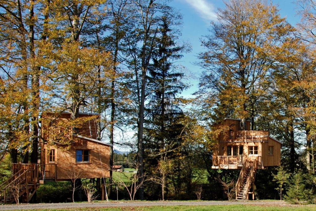 Zwei luxuriöse Baumhäuser eines Bauernhof in Bayern zwischen hohen Bäumen auf einem Feld im Allgäu.