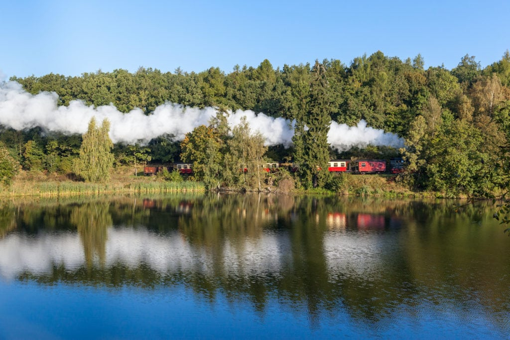 Schmalspurbahn fährt durch den Harz