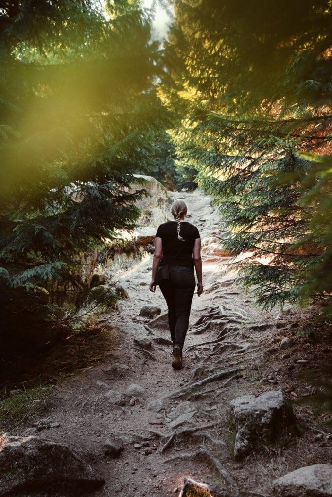 Frau spaziert durch den Wald