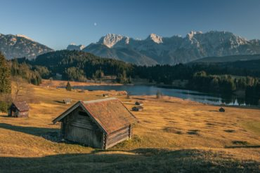 Rural landscape in Bavaria with small farmhouses