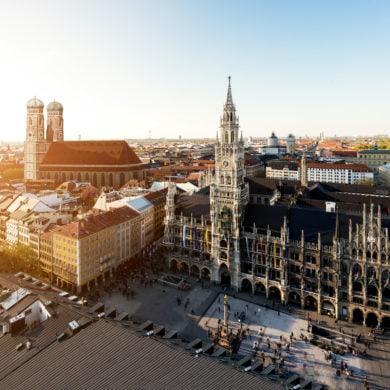 View from above on the Marienplatz in Munich