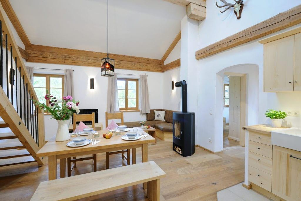 Wohnzimmer im Hanzhof, einem der schönsten Ferienhöfe in Bayern