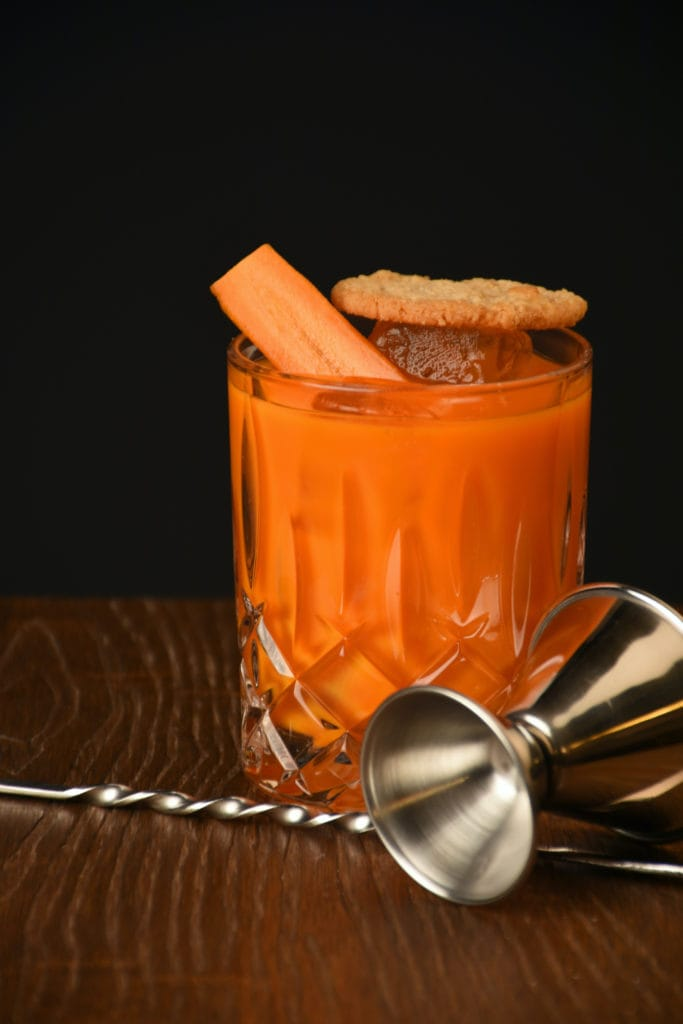 Alcohol-free carrot cocktail in a bar in Berlin