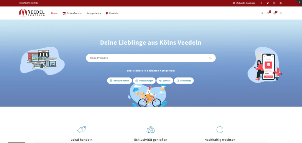 "Screenshot der Website ""Veedelshoping"""