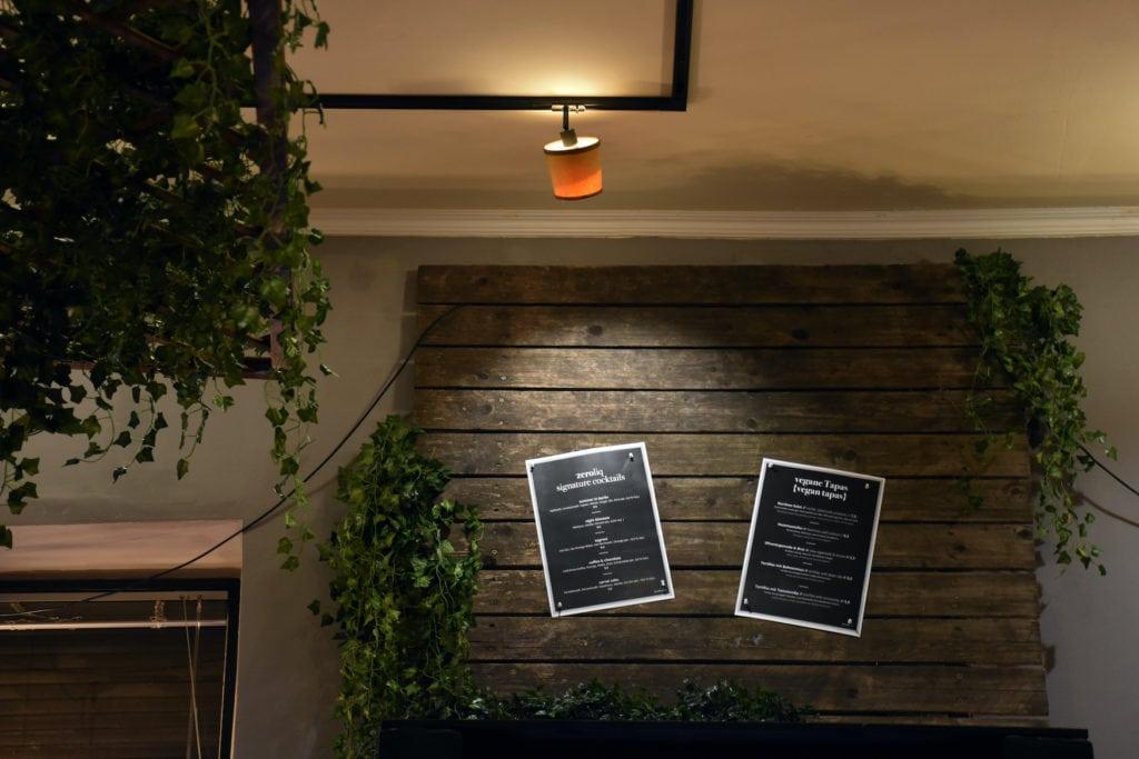 Food and Drinks Menu in alcohol-free bar in German capital Berlin