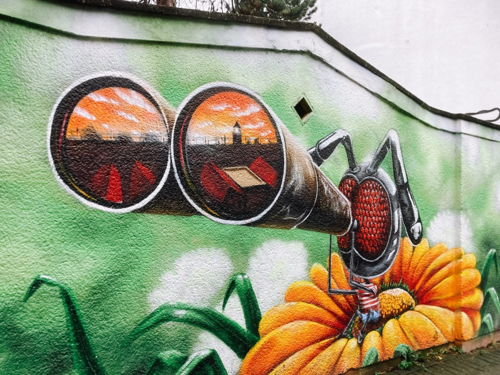 Mural mit einer riesigen Ameise an grüner Wand