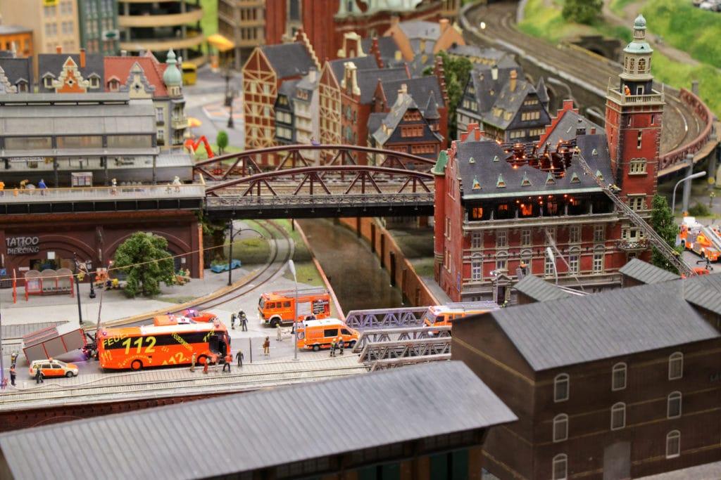 Nachbildung einer Stadt im Miniatur Wunderland in der Hamburger Speicherstadt