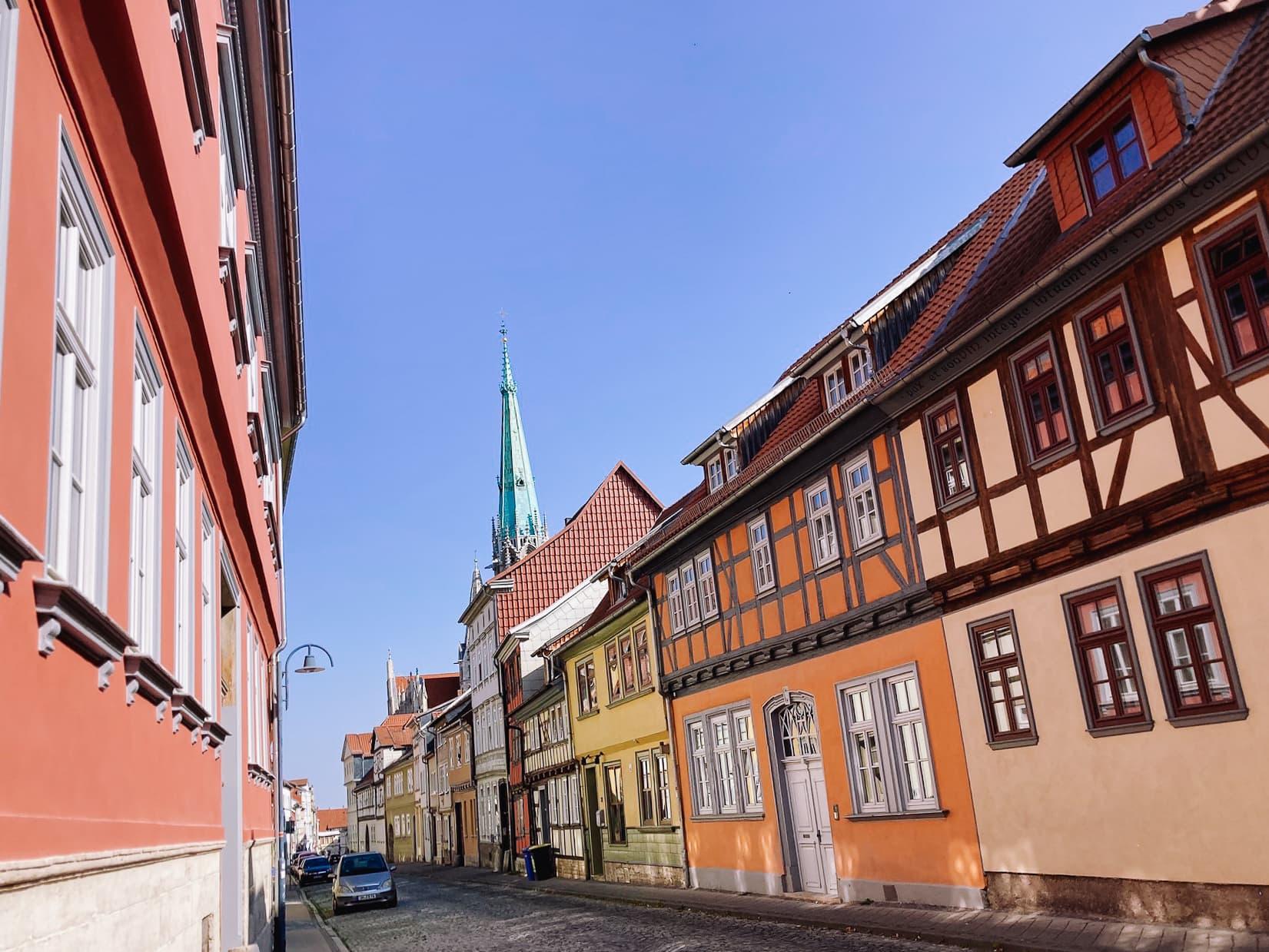 Bunte Häuser in der Altstadt von Mühlhausen