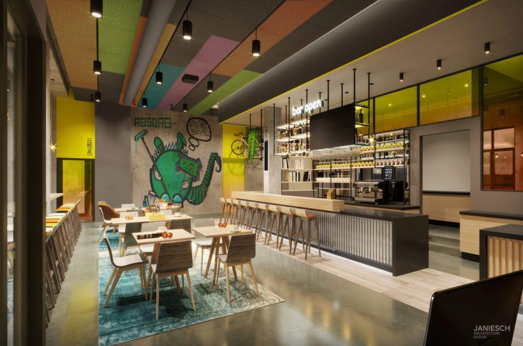 Lobby und Bar des ersten Cabinhotels in Deutschland