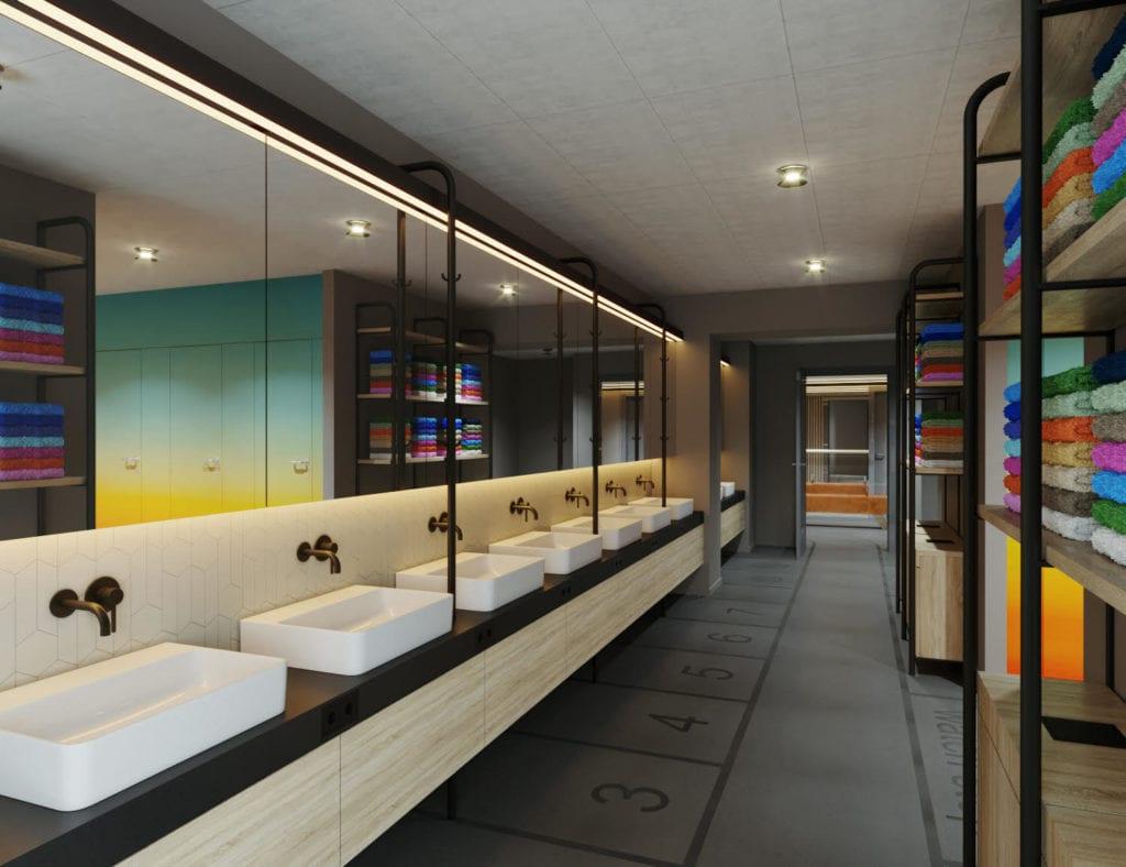 Sanitärräume in Cabinhotel in Hamburg