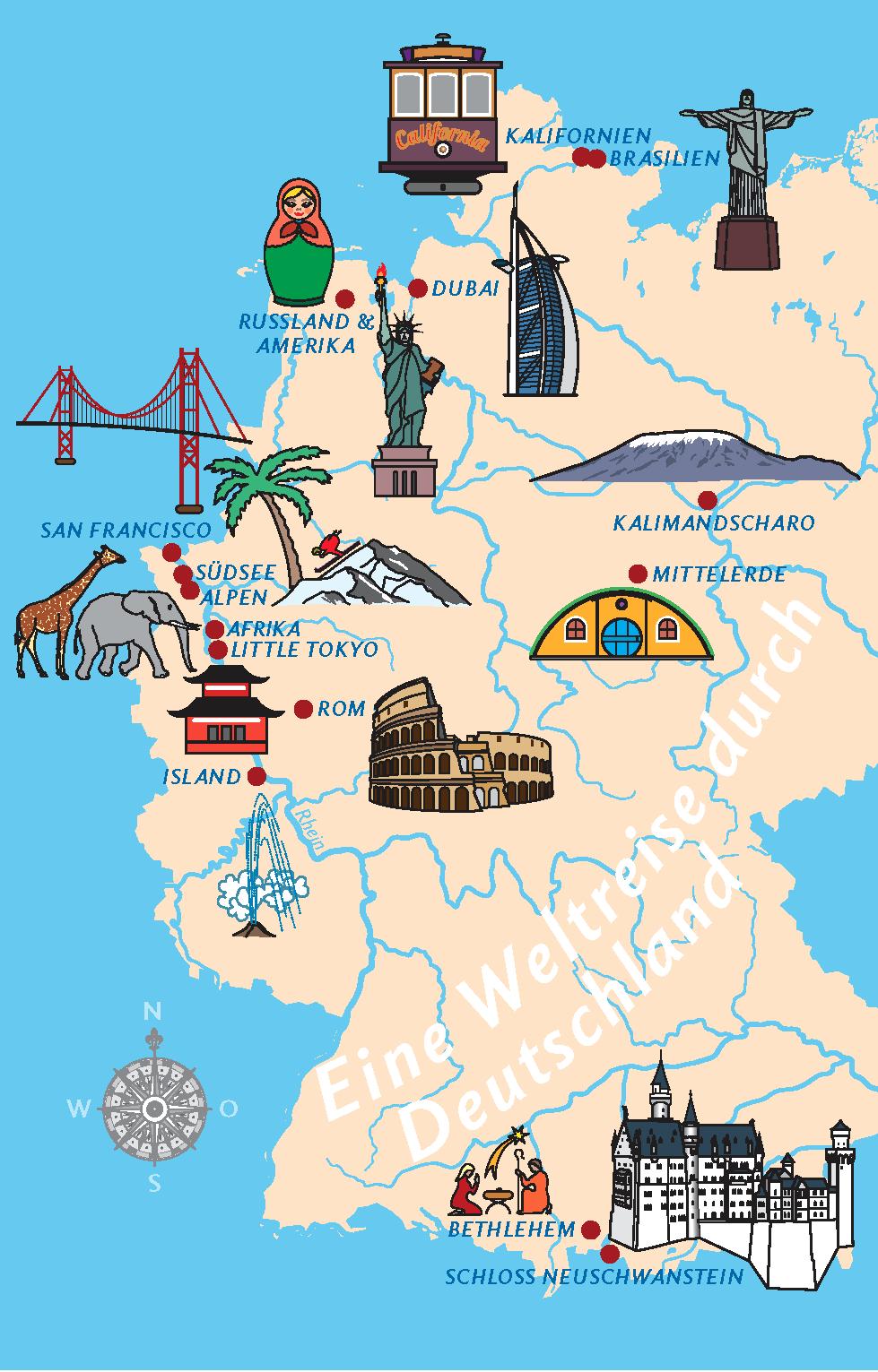 Karte mit exotischen Ortsnamen in Deutschland