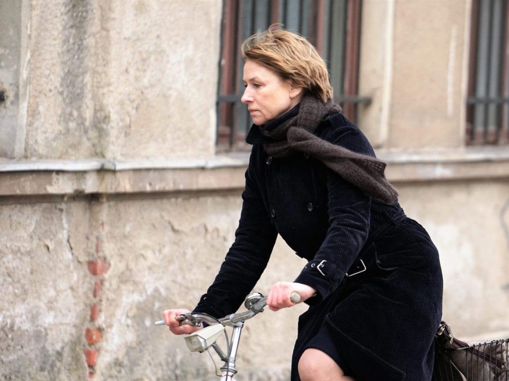 Dreharbeiten zu Das Mädchen mit den goldenen Händen in Zeitz mit Schauspielerin Corinna Harfouch