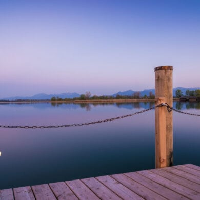 Full moon at lake Chiemsee in Chiemsee-Alpenland region in Bavaria, Germany