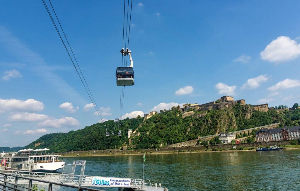 Cable car of Ehrenbreitstein fortress in Koblenz