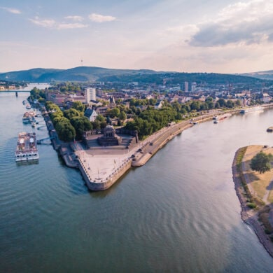 Panoramic view from the sky ,drone view at the river Rhein and Mosel by Koblenz, Deutsches Eck, Festung Ehrenbreitstein