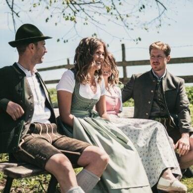 Friends wearing Bavarian Trachten